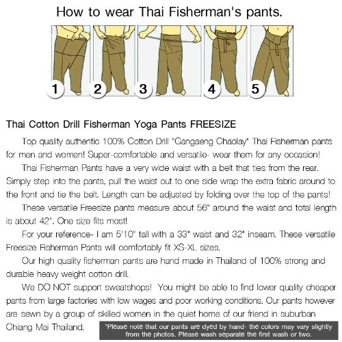 b6530f733b6 Thai Fisherman Pants Yoga Trousers FREE SIZE Plus Size Cotton Drill  Charcoal Stripe